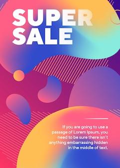 Super cartel de venta con formas abstractas de neón y texto