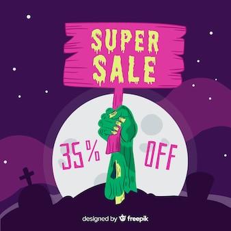 Super cartel de venta sosteniendo por un zombie