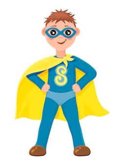 Super chico. un niño con un disfraz de superhéroe azul. estilo de dibujos animados. ilustración. aislado en blanco.