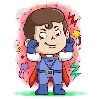 Super chico rojo usando los guantes azules con la energía eléctrica