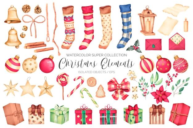 Super colección de elementos navideños de acuarela