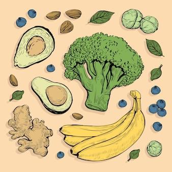 Super comida verduras y colección de frutas
