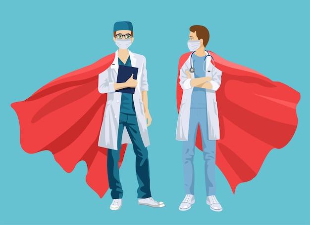 Super doctor y enfermera con máscaras y capas médicas.