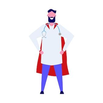 Super doctor personaje. ilustración profesional en estilo.