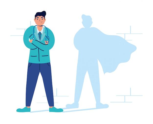 Super doctor con sombra de héroe