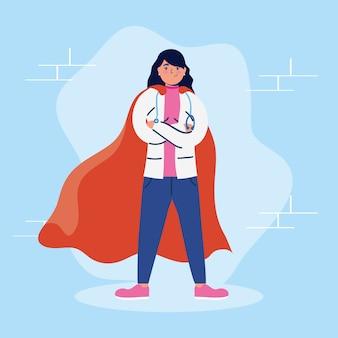 Super doctora con capa de héroe vs covid19