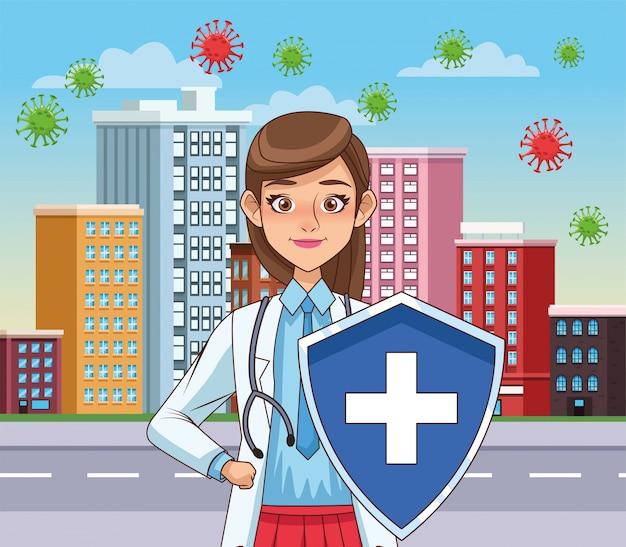 Super doctora con escudo vs covid19