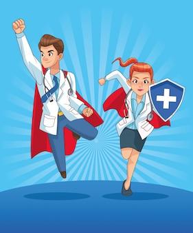Super doctores pareja personajes cómicos