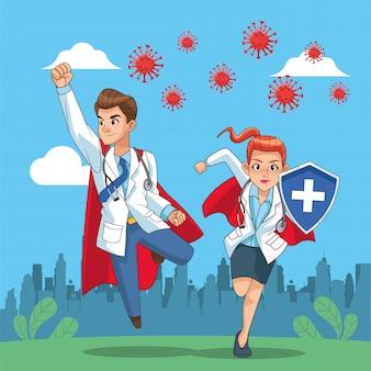 Super doctores pareja vs covid19 en el campo