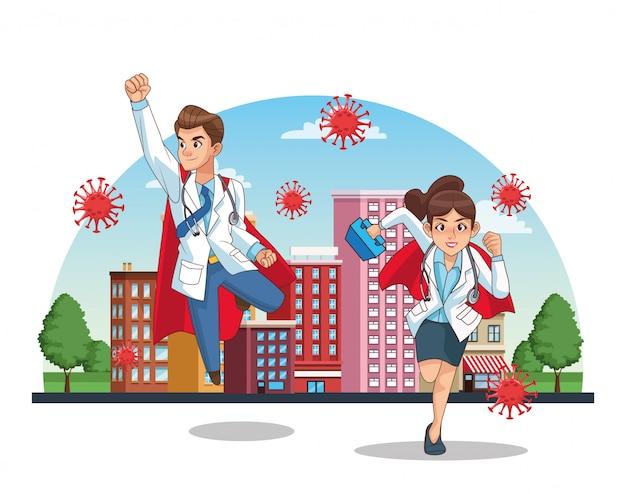 Súper doctores pareja vs covid19 en la ciudad