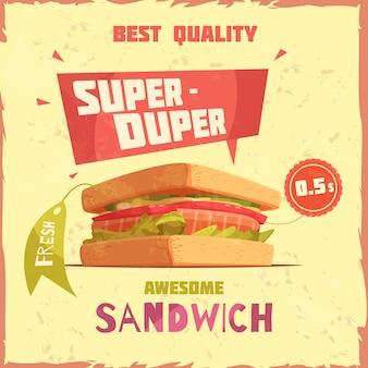 Súper duper sándwich de la mejor calidad con cartel promocional de precio y etiqueta sobre fondo texturizado