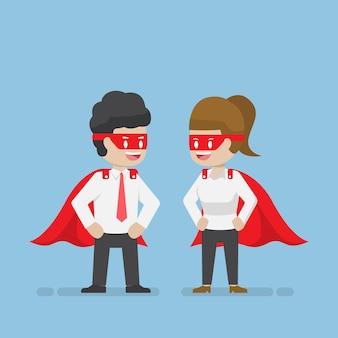 Super empresario y empresaria. concepto de liderazgo y superhéroe empresarial.