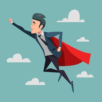 Super empresario en red cape volando hacia el éxito. superhéroe de negocios.