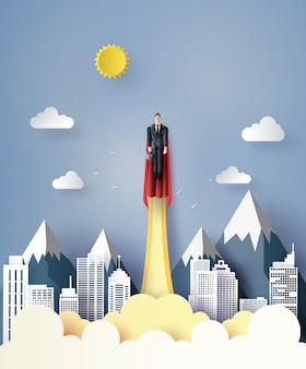 Super empresario volando en el cielo