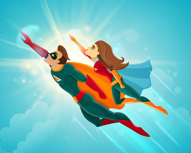 Super heroes pareja volando