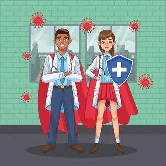 Super interracial pareja de doctores con capa de héroe vs covid19 diseño de ilustración vectorial