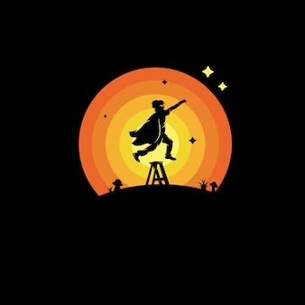 Un super kids volando logo de sueños de alto alcance.