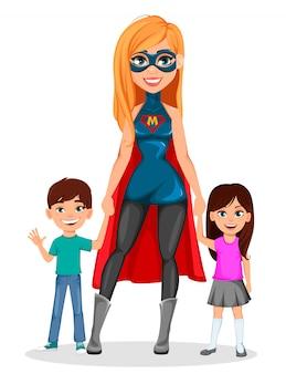 Super madre superhéroe mujer
