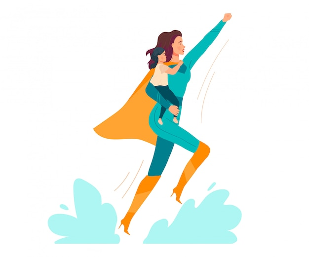 Super mamá ilustración, caricatura hermosa joven madre en traje de superhéroe con bebé niño en manos en blanco