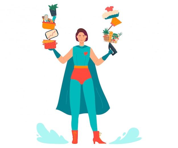 Super mamá ilustración, caricatura hermosa joven madre en traje de superhéroe hace el trabajo a domicilio multitarea en blanco