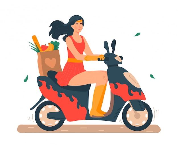 Super mamá ilustración, caricatura hermosa joven madre en traje de superhéroe montando moto o scooter en blanco