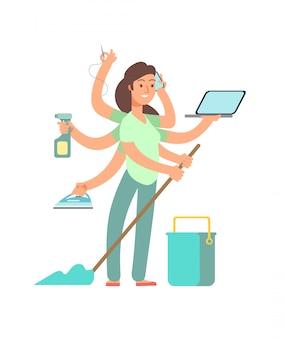 Súper mamá . madre estresada en negocios y actividades domésticas.