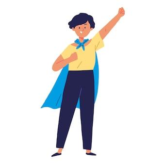 Super mamá madre usa capa voladora pose superhéroe familia ilustración