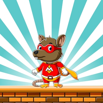 Super mouse usando el disfraz súper eléctrico y parado en la pared