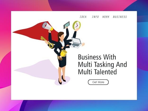 Súper mujer de negocios de pie con multitarea