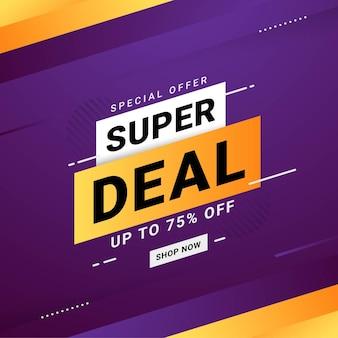 Super oferta banner venta descuento promoción vector gráfico