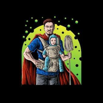 Super papá con ilustración de vector de bebé