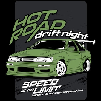 Súper rápido clásico, vector de coche ilustrado