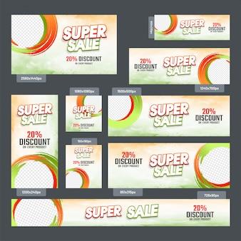 Super sale baneer para descuentos de hasta 20% de descuento.