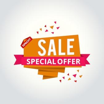 Super sale, este banner de oferta especial de fin de semana, hasta 50% de descuento. ejemplo del vector