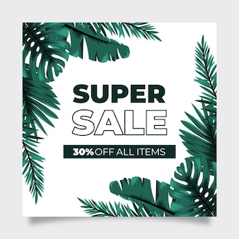 Super sale flyer cuadrado de hojas exóticas