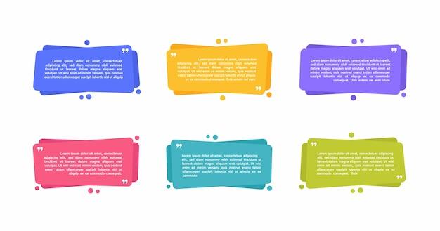 Super set cajas de mensajes de texto geométricas de diferentes formas. formas abstractas coloreadas para cita y texto. ilustración moderna.