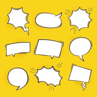 Super set dibujado a mano en blanco fondo de burbujas de discurso cómico en estilo retro.