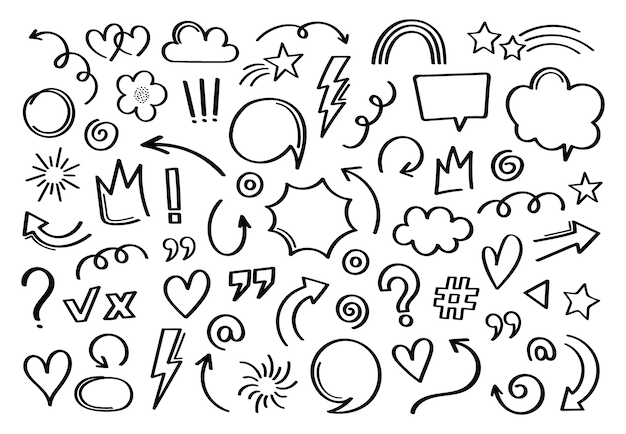 Super set diferente elemento dibujado a mano. colección de flechas, coronas, círculos, garabatos sobre fondo blanco. gráfico.