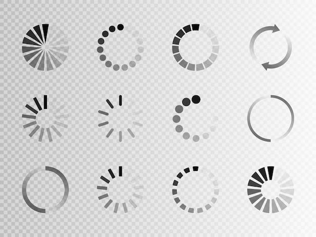 Super set icono de carga diferente. círculo del cargador o precargador de búfer del sitio web. descargar o cargar el ícono de estado