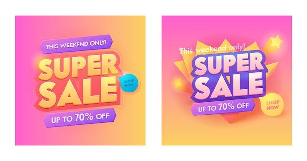 Super venta 3d banner de tipografía dorada. promoción especial color degradado de moda