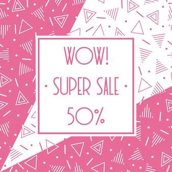 Super venta banner de memphis. descuento hasta el 50 por ciento de descuento. compra ahora. la mitad de precio de descuento.