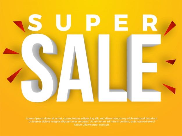 Súper venta banner de texto 3d