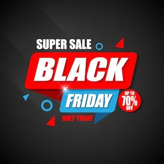 Super venta black friday banner plantilla de diseño