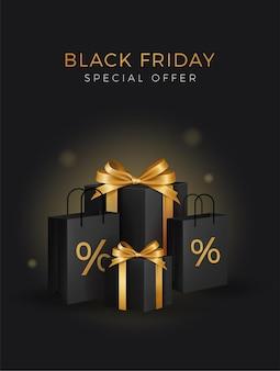 Super venta de black friday. cajas de regalo negras. texto dorado