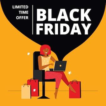 Super venta black friday con descuento para redes sociales. mujer feliz realiza compras en una venta en línea usando una computadora portátil desde casa