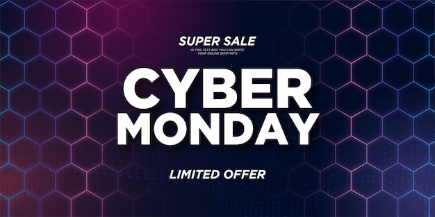 Super venta cyber monday banner con colorido fondo hexagonal 3d