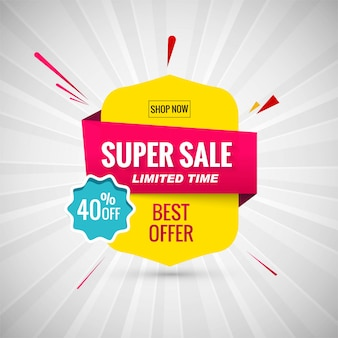 Super venta de diseño de banner. ilustración vectorial