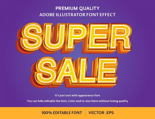 Super venta efecto de fuente editable fácil 3d