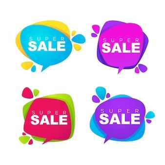 Super venta, etiquetas, pancartas y pegatinas de burbujas de biscount brillante pop art