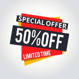 Super venta y oferta especial. 50% rebajado. ilustración vectorial. color de tema.